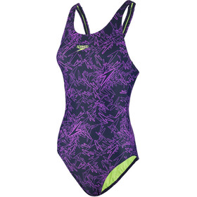 speedo Boom Allover Muscleback Swimsuit Women purple/black